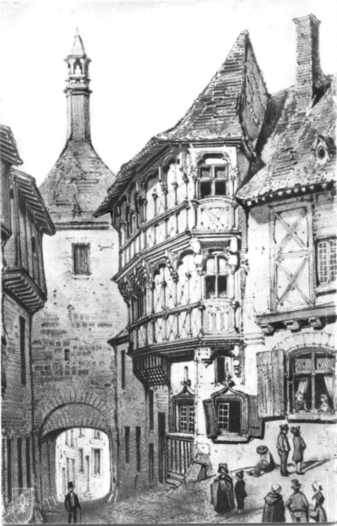 Maison de bois 2 étages - gravure ancienne © Imprimerie Sotty