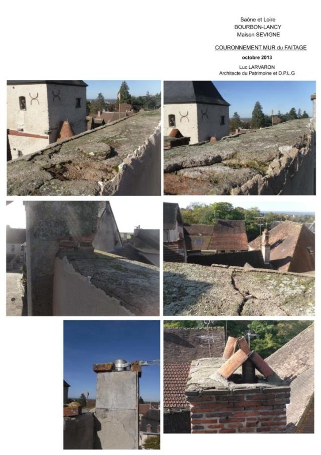 Couronnement mur du faitage - photos Luc Larvaron, architecte du patrimoine et D.P.L.G.