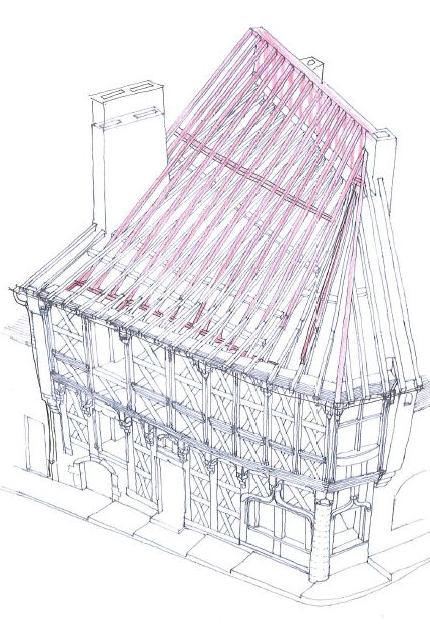 DESSIN DE LA FAÇADE, rue de l'horloge , par Monsieur Gil FRAISSE, architecte du patrimoine